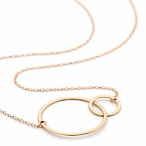 Double Rings Necklace Rose Gold
