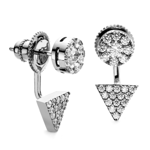 Black Rhodium Prism- Disc Swing Earrings CZ Stones