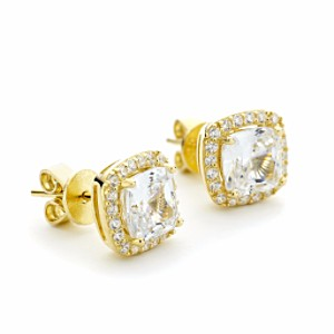 Square CZ Halo Stud Earrings