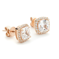 Rose Gold Halo Stud Earrings wi Square CZ Center