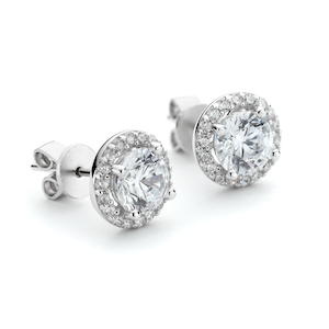 Round CZ Halo Stud Earrings - SIlver